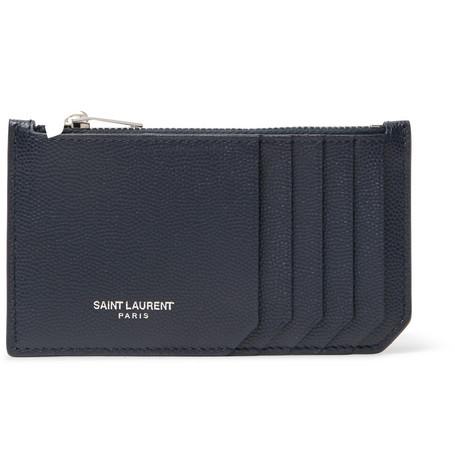 Saint Laurent - Pebble-Grain Leather Zipped Cardholder - Men - Navy