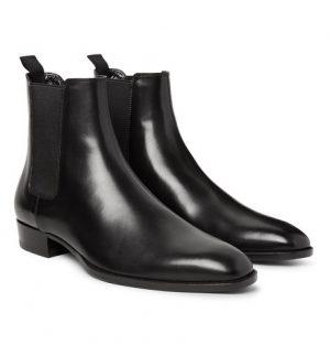 Saint Laurent - Polished-Leather Chelsea Boots - Men - Black