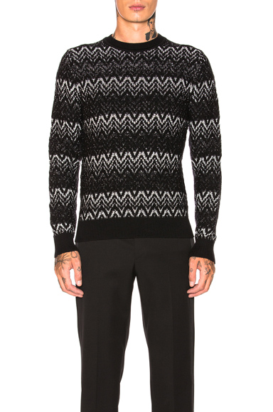 Saint Laurent Pullover Sweater in Abstract,Black,Metallic. - size S (also in M,L,XL)