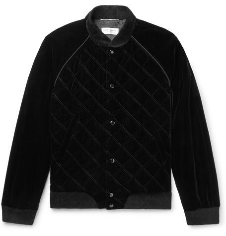 Saint Laurent - Quilted Velvet Bomber Jacket - Men - Black