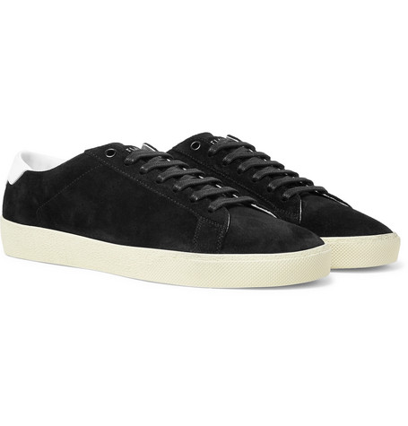 Saint Laurent - SL/06 Court Classic Leather-Trimmed Suede Sneakers - Men - Black