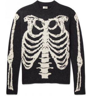 Saint Laurent - Skeleton-Intarsia Wool Sweater - Men - Gray