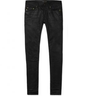 Saint Laurent - Skinny-Fit 15cm Hem Coated Stretch-Denim Jeans - Men - Black