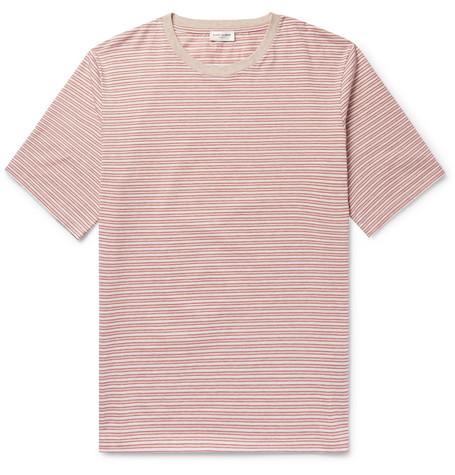 Saint Laurent - Striped Cotton T-Shirt - Men - Red