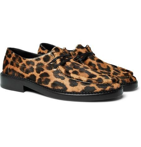 Saint Laurent - Thibault Leopard-Print Calf Hair Derby Shoes - Men - Black