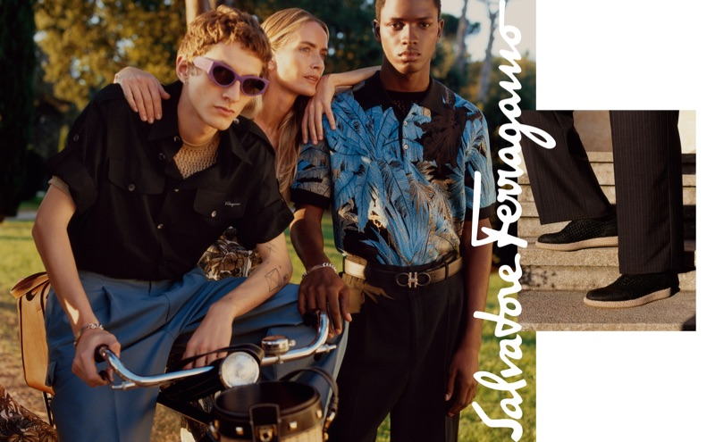 Models Henry Kitcher, Georgina Grenville, and Daniel Morel front Salvatore Ferragamo's spring-summer 2019 campaign.