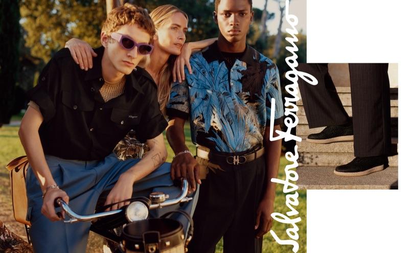 Models Henry Kitcher, Georgina Grenville, and Daniel Morel front Salvatore Ferragamo's spring-summer 2019 campaign.