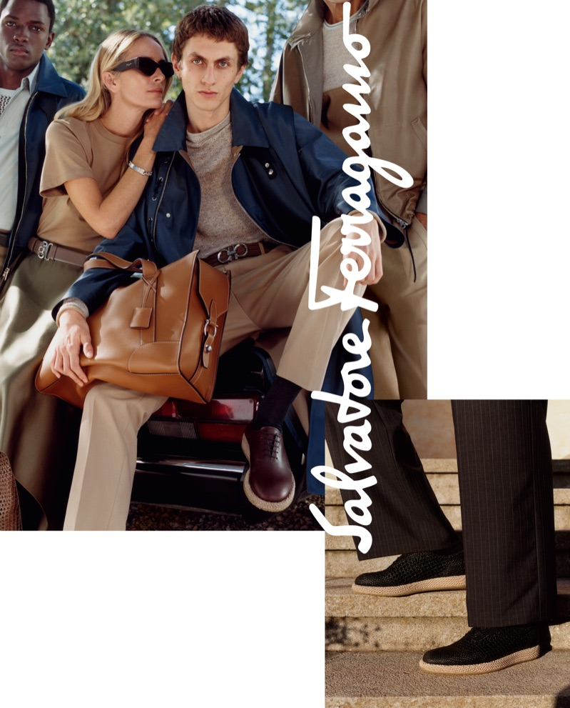 Harley Weir photographs Daniel Morel, Georgina Grenville, and Henry Kitcher for Salvatore Ferragamo's spring-summer 2019 campaign.