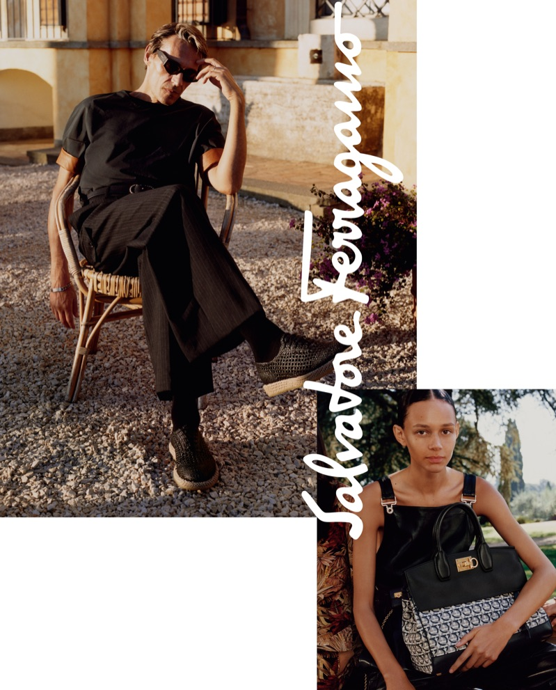 Salvatore Ferragamo enlists Didier Vinson and Binx Walton as the stars of its spring-summer 2019 campaign.