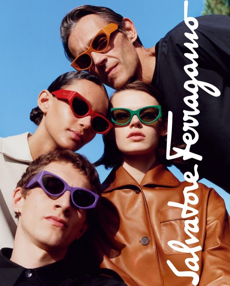 Didier Vinson, Binx Walton, Cara Taylor, and Henry Kitcher sport shades for Salvatore Ferragamo's spring-summer 2019 eyewear campaign.