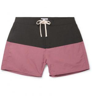 Saturdays NYC - Ennis Short-Length Colour-Block Swim Shorts - Men - Plum
