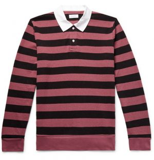 Saturdays NYC - Sanders Twill-Trimmed Striped Cotton-Terry Polo Shirt - Men - Plum