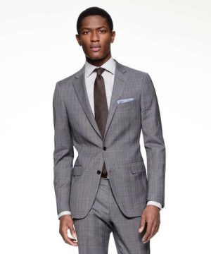 Sutton Suit Jacket in Italian Charcoal Glen Plaid Tropical Wool