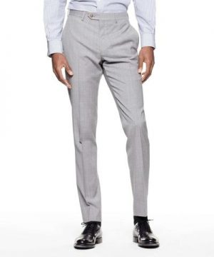 Sutton Suit Pant in Italian Grey Windowpane Tropical Wool