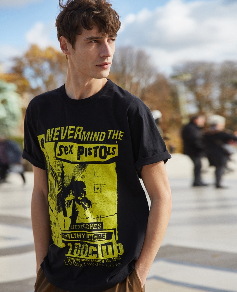 Rocking a Sex Pistols t-shirt, Adrien Sahores connects with The Kooples for spring.