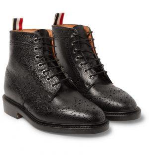 Thom Browne - Leather Wingtip Brogue Boots - Men - Black