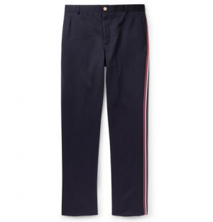 Thom Browne - Navy Tapered Striped Wool and Cotton-Blend Trousers - Men - Navy