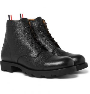 Thom Browne - Pebble-Grain Leather Cap-Toe Boots - Men - Black