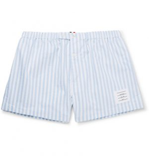 Thom Browne - Striped Cotton Oxford Boxer Shorts - Men - Blue