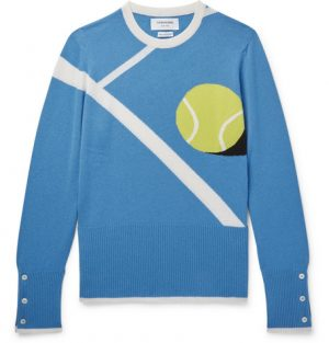 Thom Browne - Tennis Ball-Intarsia Cashmere Sweater - Men - Blue