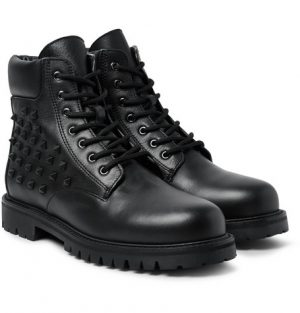 Valentino - Studded Leather Boots - Men - Black