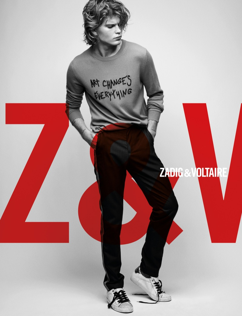Front and center, Jordan Barrett appears in Zadig & Voltaire's spring-summer 2019 campaign.