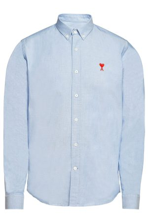 ami Cotton Button-Down Shirt with Embroidery