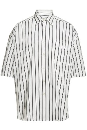 ami Cotton Oversized Striped Shirt