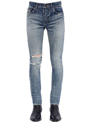 15cm Skinny Destroyed Denim Jeans