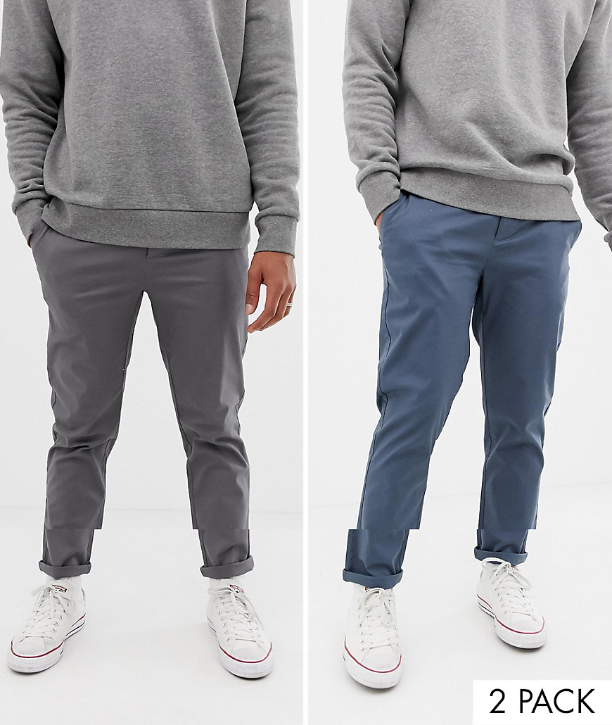 2019 best new photos search for authentic ASOS DESIGN 2 pack slim chinos in dark blue & gray - Multi