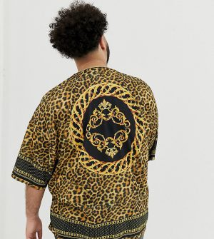 ASOS DESIGN Plus oversized leopard print t-shirt with border and back print - Multi