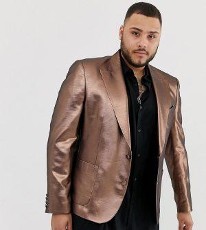 ASOS DESIGN Plus skinny 70s metallic copper blazer - Gold