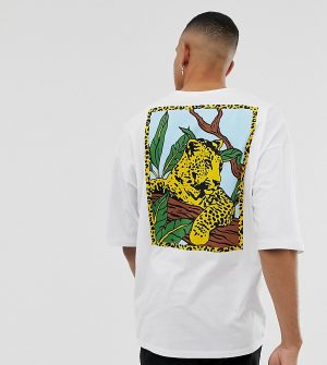ASOS DESIGN Tall oversized t-shirt with back leopard print - White