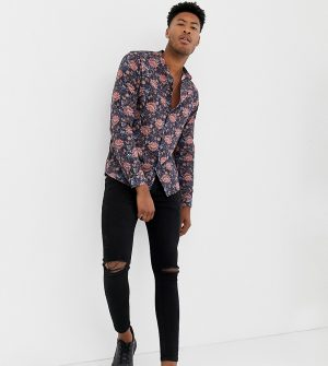 ASOS DESIGN Tall regular fit floral shirt in blue with grandad collar - Navy