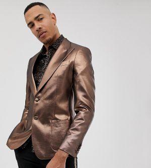 ASOS DESIGN Tall skinny 70s metallic copper blazer - Gold
