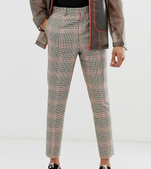 ASOS DESIGN Tall tapered pants in brown check - Brown
