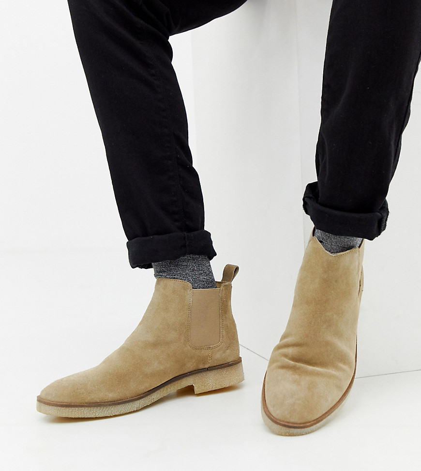 af53b535d91a0 ASOS DESIGN Wide Fit chelsea boots in stone suede with natural sole – Stone