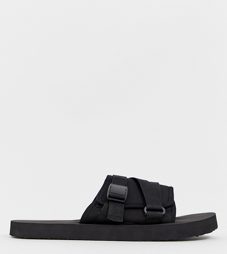 715b7c5b14b334 ASOS DESIGN Wide Fit tech sliders in black with tape straps – Black ...