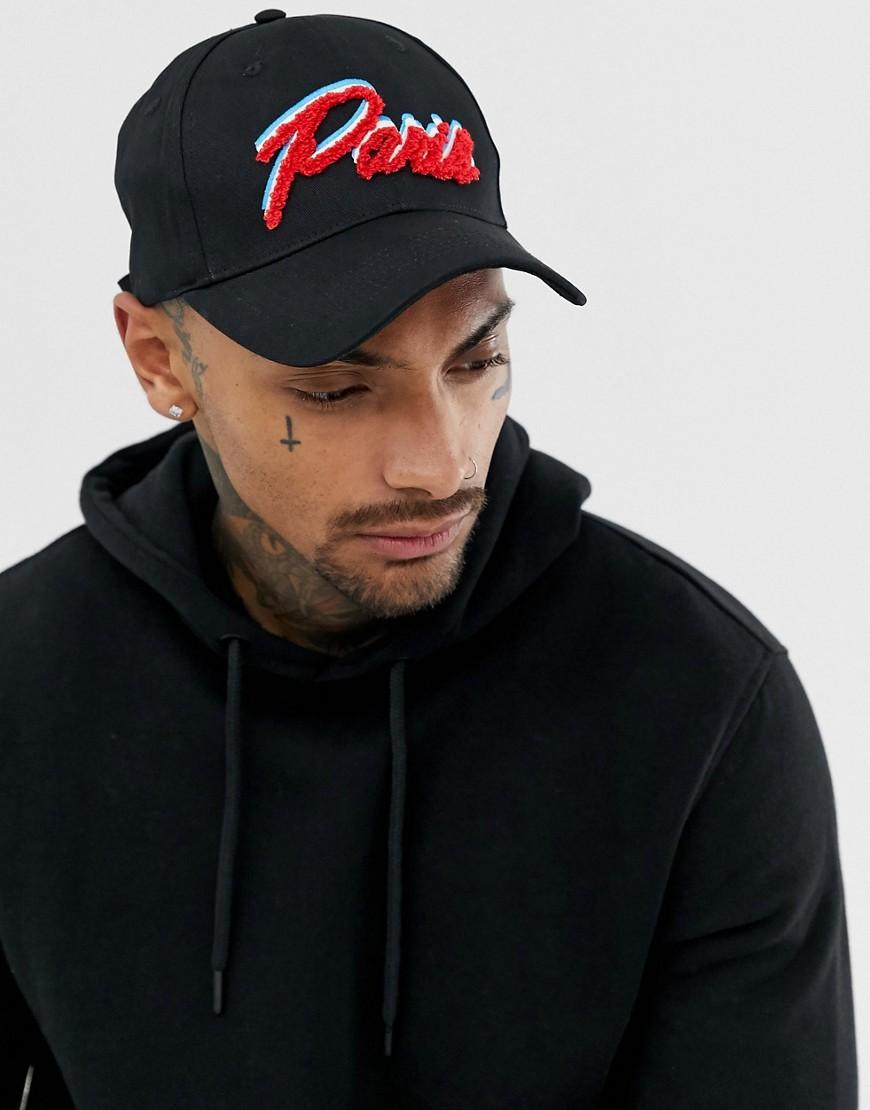 36e3d644673 ASOS DESIGN baseball cap in black with paris embroidery – Black ...