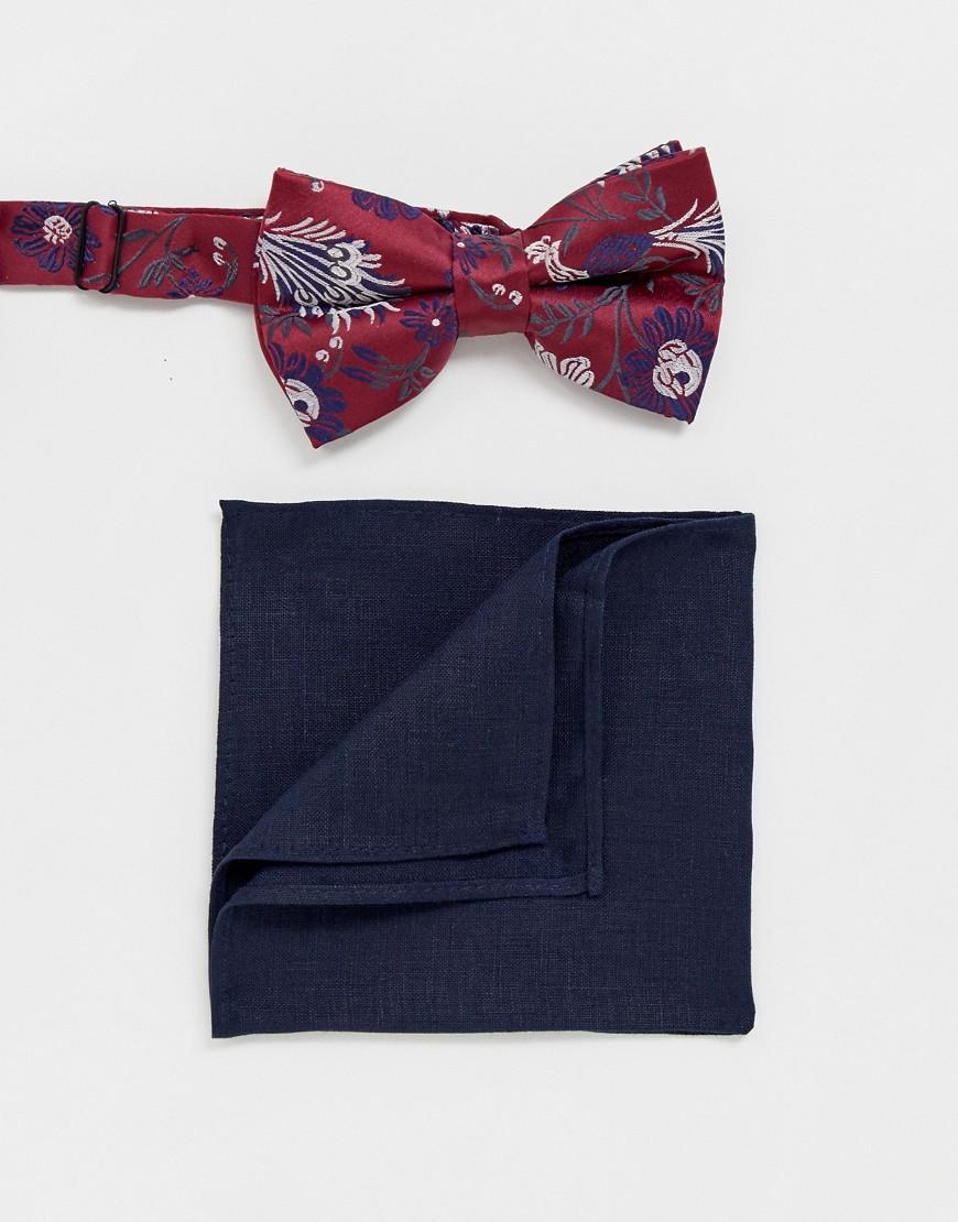 cdfe54f0a565e ASOS DESIGN burgundy floral bowtie & navy pocket square – Multi | The  Fashionisto