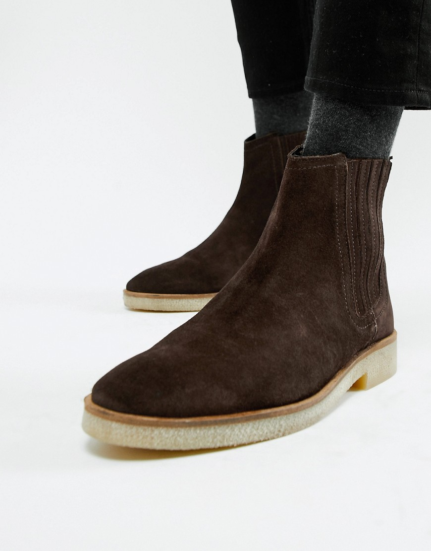 9e6cd4de1 ASOS DESIGN chelsea boots in brown suede with faux crepe sole – Brown