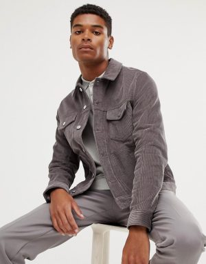 ASOS DESIGN cord jacket in gray - Gray