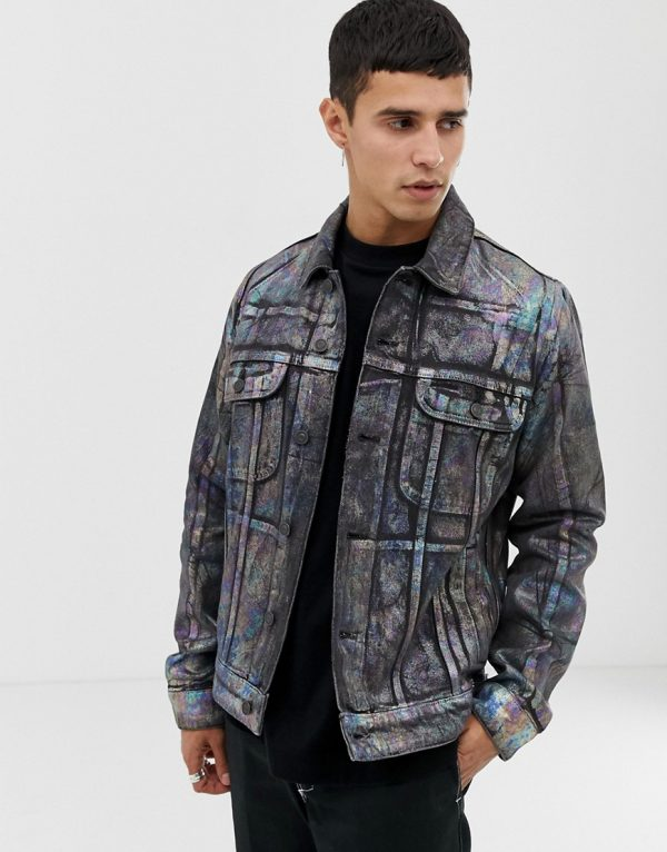 ASOS DESIGN denim jacket with multi colored foil print - Multi