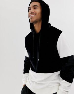 ASOS DESIGN hoodie in velour with color block in black and white - Black