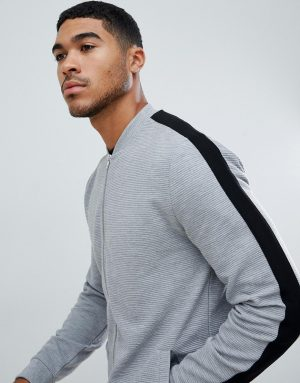 ASOS DESIGN jersey rib bomber jacket with side stripe in gray - Gray