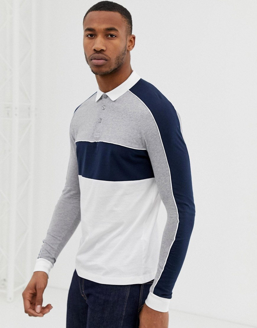 Asos Design Long Sleeve Polo Shirt With Color Block And Contrast