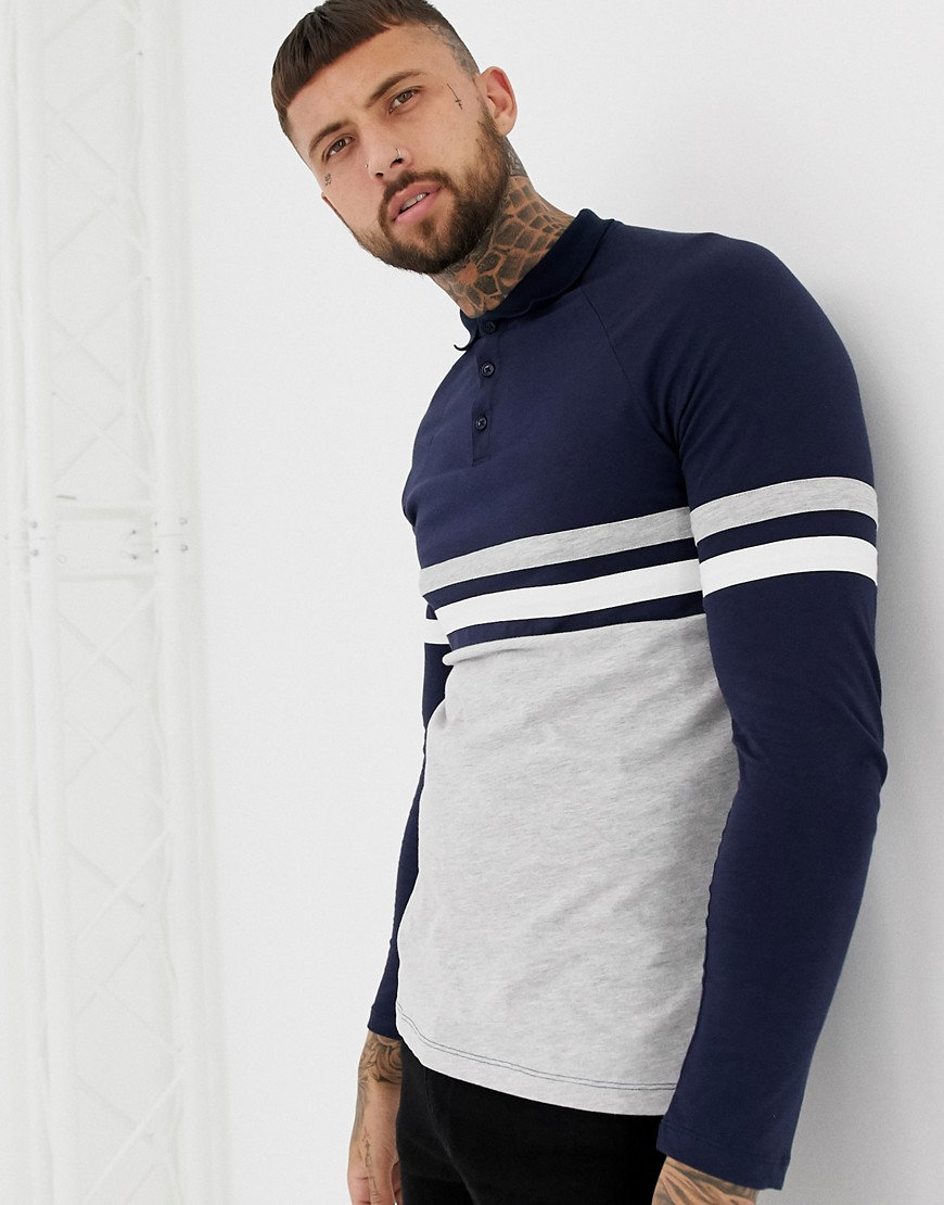 4ee77fa07 ASOS DESIGN long sleeve polo shirt with contrast body and sleeve panels in  navy/gray – Gray