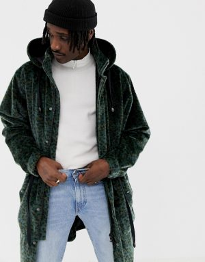 ASOS DESIGN longline parka with faux fur leopard print - Green