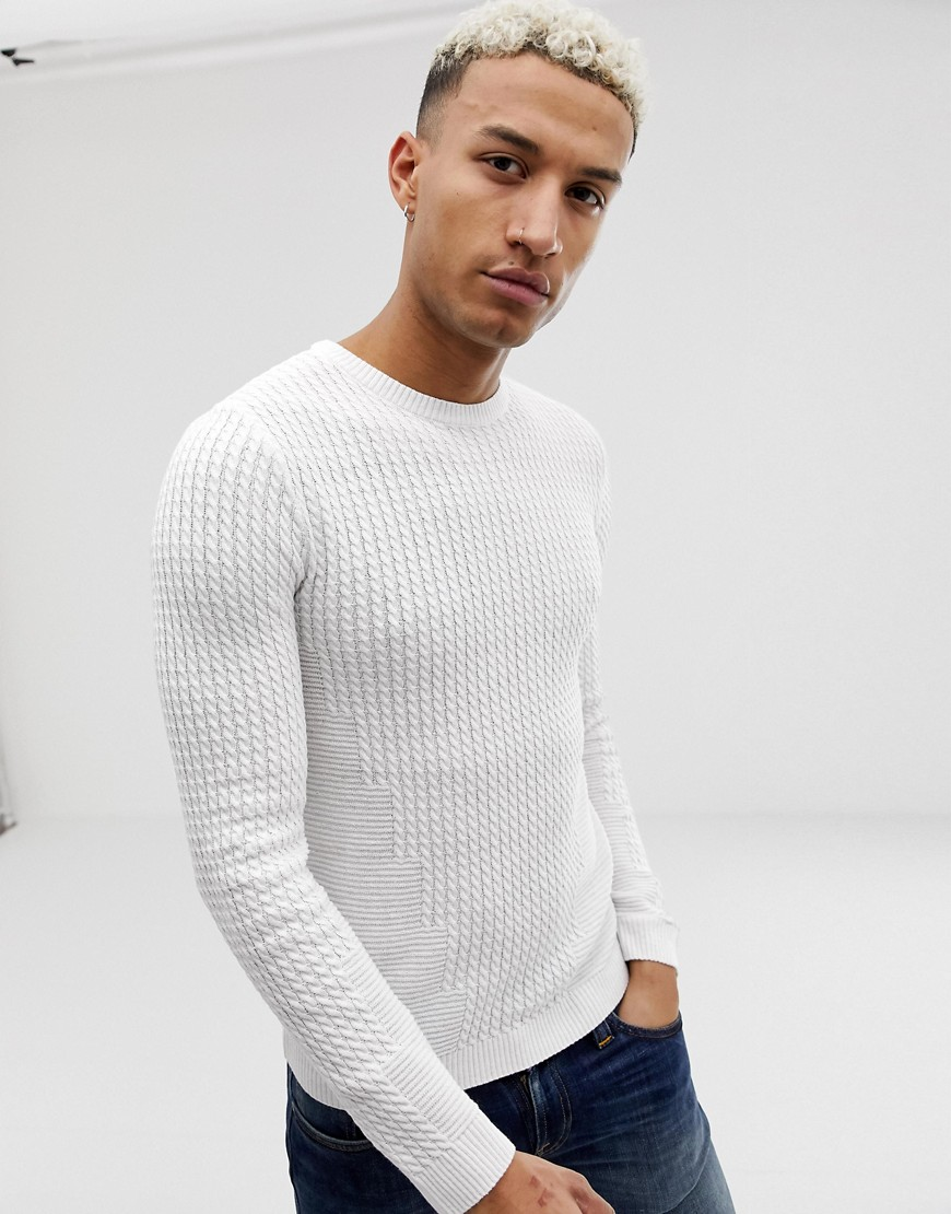 a3668a1c2331 ASOS DESIGN muscle fit lightweight cable sweater in white – White   The  Fashionisto