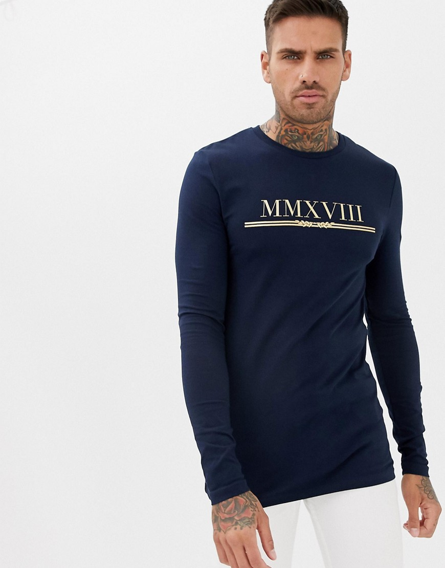 c315ade12 ASOS DESIGN muscle fit long sleeve t-shirt with gold roman numerals print –  Navy